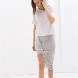 NWT Zara Light Gray Asymmetrical Skirt Size M